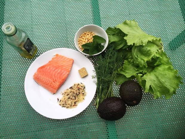 ingrédients salade de saumon en 2 cuissons